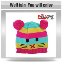 Multi color low price cute crochet beanie hat with braid