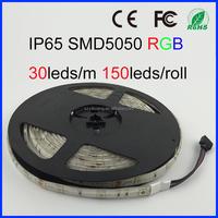 RGB led strip 5050 waterproof 150 leds/5 m tape de fita lampada luz smd 5050 smd 12V tiras de led para casa warm white blue