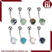 HT Classic Natural Stone Belly Button Rings Body Piercing Jewelry