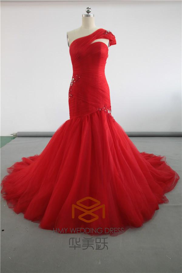 Made in China SHMY-W0067 Ruffled frisado um ombro trem vermelho sereia vestido de noiva fotos