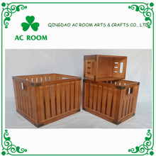 AC ROOM S/3 Antique Storage Brown Wood Box