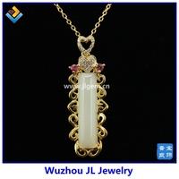 2015 JL Jewelry Spring JL-P140040 Natural Hetian Jade Serial 925 Sterling Silver 18K Plated Fashion Beautiful Pendant