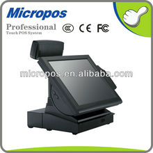 15 Inch touch screen pos computer with VFDcustomer display & MSR