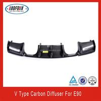 Auto Carbon fiber rear bumper V type rear bumper diffuser for bmw e90