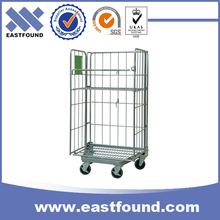 Folding Suppermarkt Storage Hand Go Trolley Rolling Cage Cart