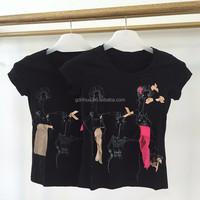 Short sleeve fashion lady image silk applique slim fit cotton t shirt