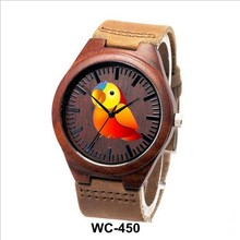 New arrival fashion bamboo wood Bamboo leather strap watch with date genuine for gifts