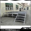 Adjustable height aluminum portable stage with safe staging fence