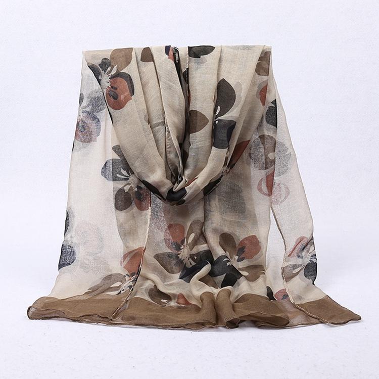 Flores de alta qualidade impressa poliéster plain voile lenço de tecido do sexo
