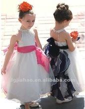 unqiue spaghettic strape elegant satin hand-made long fashion girls dress