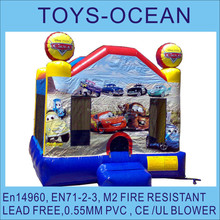 Car cartoon Printings Theme Kids bounces ,inflatable moonwalk with cute cars