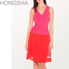 Red Colorblock Rib Dress Stitching Designs Casual Dresses Cocktail HSD1208