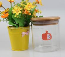cylindrical jam/honey/cookies/storage bulk bee storage glass jars with bamboo lid wholesale