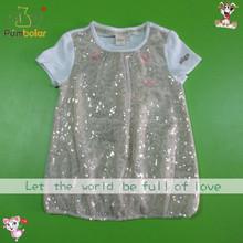 girls t shirt/cute design top fashion beaded net fabric S/S