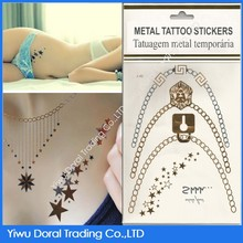 2015 Hot Sell Sexy Stars Metallic Temporary Tattoo Paper/Stickers With High Quality And Various Pattern