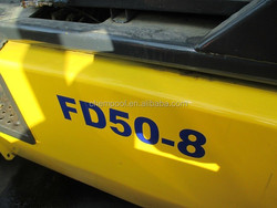 Used japan forklift 5 ton for sale, FD50-8, 3 stages, 4.5 m mast height