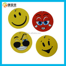 2015 New smile face expression printed paper hanging air freshener custom promotional car air freshener
