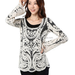 Elegant Women's Lace Blouse Design,Crochet Lace Clothing Wholesale