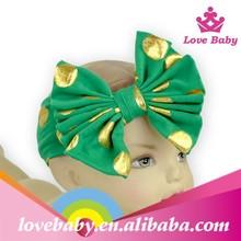 2015 new style bow knot gold polka dots green girls headbands/sport hair band LBS5070913