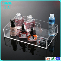 High Quality Transparent Acrylic Nail Polish Display Tray with handle hoes,Acrylic Display Stand Holder