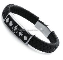 Men's Braided Leather Bracelet,Engraved Poker Skull,Stainless Steel