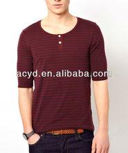 Dark Red Stripe Collar Button Decorative Half Sleeve T-shirt