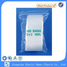 Clear LDPE ziplock bag 4 mil poly bag