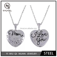 "Connections from Hallmark Clear Crystal Accent Stainless Steel Mom Heart Pendant, 18"" with 2"" Extender"