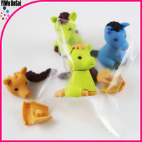 2016 Wholesale 3D Cute fancy baby Animal Lovely horse Eraser for child