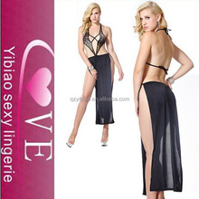 hot design pieces cloth cover nude girls sleep underwear sexy lingerie long gown