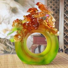 Artbay liuli crystal glass green round with amber flower wedding craft