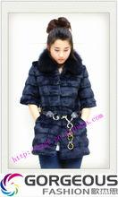 rabbit fur coat fox fur collar