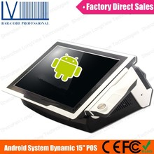 15 inch Touch Flat Screen POS System Tablet, Android O/S, with VFD Customer Display, RFID, IBUTTON and WIFI Available