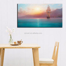 2015 newest arrival top quality hand painted beautiful landscape boat on sunset oil painting pictures landscapes