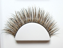 wholesale newest design brown fox fur mixed black mink fur eyelash customized lashes and private label