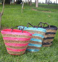 2015 New Style Simple Corn husks weave wooden jewelry Handbag straw bag