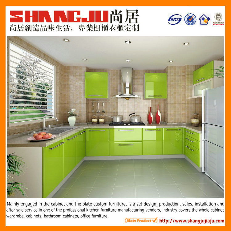 lemon green colored high glossy kitchen cabinet doors, View colored