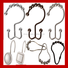 Factory Direct Sale iron and stainless steel square curtain rings bathroom shower curtain hooks