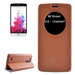 2015 New Products with Caller ID Display Window Leather for LG G3 Beat Phone Case