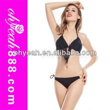 Newest fashion fringe tassel swimwears sexy girls black bikini in 2014