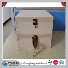 hot selling custom plain lock art packing plain wooden box with removable compartments