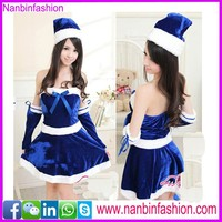 Hottest blue girl christmas belly dance costume for sale with hat