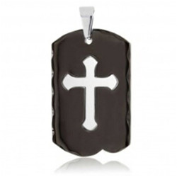 Yiwu Aceon 316L Surgical steel Black Plated Two Tones Edgy Cross Dog Tag