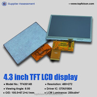 4.3 inch touch screen displays with 480*272 resistive or capacitive touch screen
