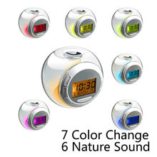 2015 factory promotional 7 color change mini crystal alarm clock