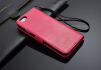 PU leather mobile phone cover for iphone 6 flip wallet case with standing card slots