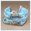 Blue infinity anchor rope adjustable friendship antique leather bracelet