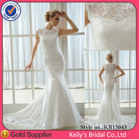 Beautiful mermaid lace long train wedding dress wedding gown