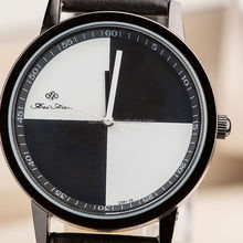 one fourth quarter Dial Watch Black Leather Strap