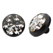 Multiple crystal stones PVD coated titanium bezel with epoxy dermal anchor tops